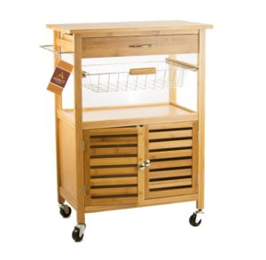 Kitchen Storage Serving Trolley Cart with Cabinet Removable Basket, Bamboo