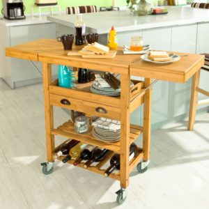 SoBuy® Bamboo Kitchen Storage Serving Trolley Cart with 2 Folding Hinged Side Boards