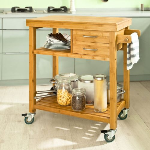 Beautiful Natural Bamboo Kitchen Storage Trolley Carts