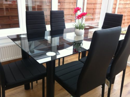 black glass dining table & chair set