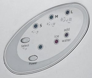 control buttons for the ice maker machine