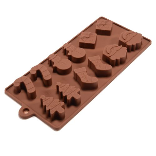 6 silicone Christmas chocolate moulds